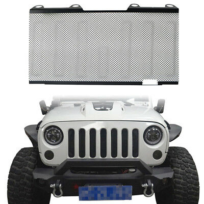 Front Mesh Grille Inserts Screen Trim Iron Matte For Jeep Wrangler JK 07-15