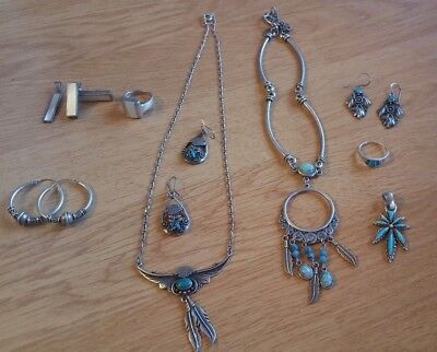 Vintage HARLEY DAVDISON Jewellery - Sterling Silver - Turquoise - Bulk Lot x 9