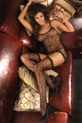 Damen Bodystocking Lingerie sexy Catsuit Dessous black