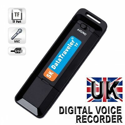 SPY DIGITAL VOICE RECORDER DICTAPHONE RECHARGEABLE USB MEMORY STICK UK Fast&Free