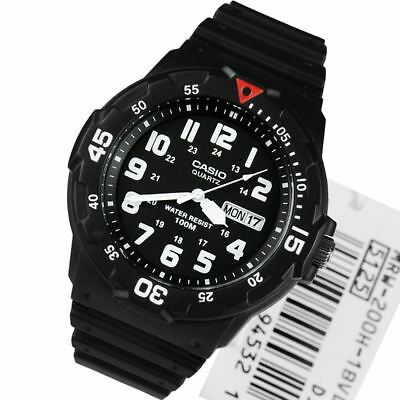 Casio MRW-200H-1BVDF MRW-200H-1B Quartz 100M Analog Resin Band Mens Sports Watch
