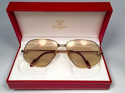 ea73de6d0b4 Vintage Cartier Panthere 63Mm Large Sunglasses France 18K Gold Heavy Plated