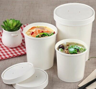 White Disposable Paper Ice Cream Soup Containers Heavy Duty Lids 8 12 16 26 32oz