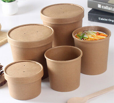 Kraft Disposable Paper Ice Cream Soup Containers Heavy Duty Lids 8 12 16 26 32oz
