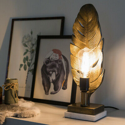 Art Deco Table Lamp Bronze with Marble Base - Leaf Art Deco, Classic / Antiqu...