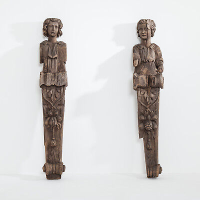 Late 17th / Early 18th Century Carved Wood Fireplace Jambs