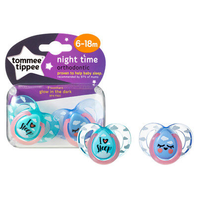 Tommee Tippee Closer to Nature Night Time Soother 6-18m 2Pk UNISEX