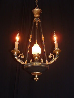 Antique French Bronze 3 arm 4 light chandelier Empire France