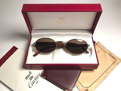 75f5f4d11055 Vintage Cartier Sully Gold   Wood 53 20 Full Set Brown Lens France  Sunglasses