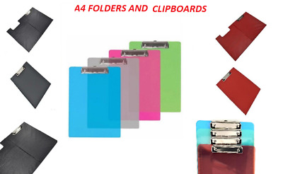 A4 Clipboard Single and Fold-Over,  Transparent, Black, Red  Blue, green