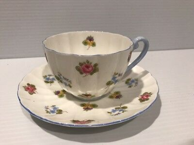 Shelley - Rose, Pansy, Forget-Me-Not Cup & Saucer BLUE HANDLE TRIM ENGLAND