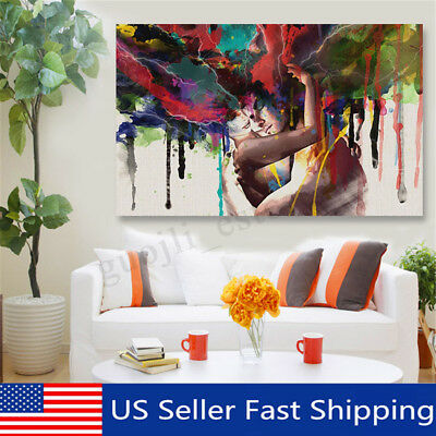 """Modern Framed 17""""x12"""" Abstract Couple Canvas Painting Print Picture Home Decor"""