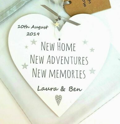 Personalised NEW HOME GIFT HOUSEWARMING Wood Heart Plaque Sign Memories Family