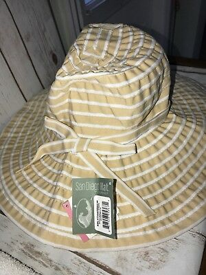 65bc74fd1c4b05 San Diego Hat Company Beige and White Travel Ribbon Crusher Large Brim One  Size