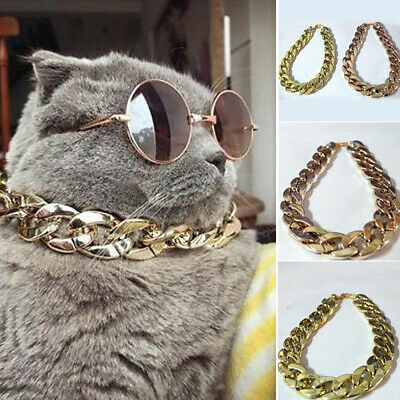 36/45cm Adjustable Dog Cat Punk Chain Collar Lead Wide Necklace Pet jewelry GIL