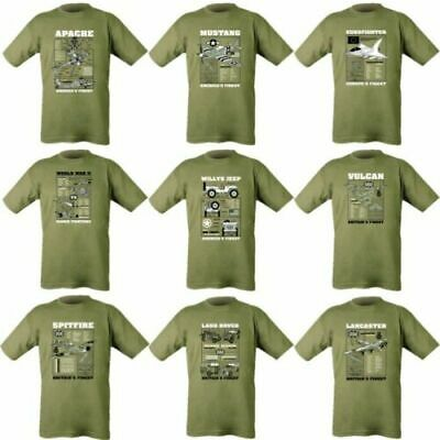 Mens Military T-Shirt Army Ww1 Ww2 Apache Spitfire Typhoon Willys Jeep Mustang