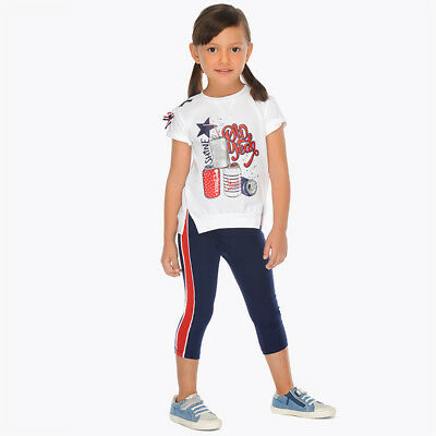 Mayoral Girl T-Shirt & Side Stripe Legging Set In Navy (03707-089) Aged 2-8yrs