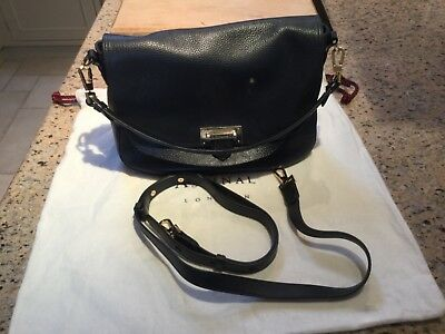 7324143cb1 Aspinal of London Ladies Leather Letterbox Slouchy Saddle Bag in  NavyPebble. VGC