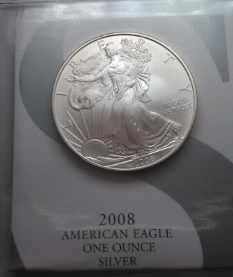 2008-W American Silver Eagle Uncirculated One Ounce .999 Fine Silver Mintmarked