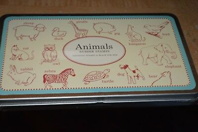 Cavallini Tin of 14 Rubber Stamps Animals Black Ink Stamp Pad Included