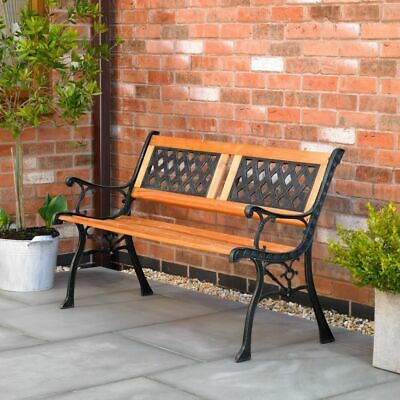 Wido WOOD GARDEN PATIO BENCH OUTDOOR 2 PERSON CROSS LATTICE CAST IRON PARK SEAT