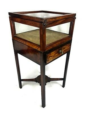 Antique Bijouterie Table / Cabinet / 19th Century Wooden Mahogany / Box