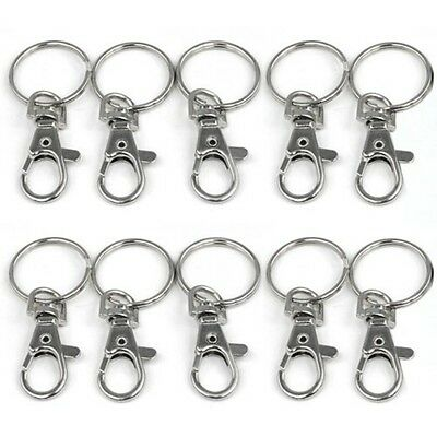 10/20PCS/Lot Key Split Ring Blanks with Small Lobster Detachable Swivel Clasp