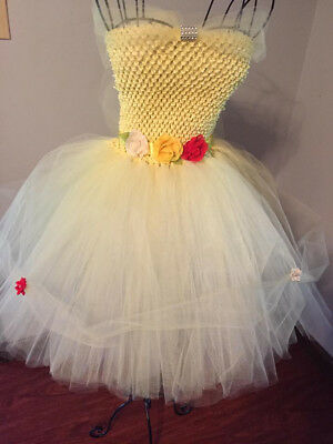 19ded9ec2a7 Handmade Belle inspired yellow princess tutu tulle dress size 5 thru petite  7