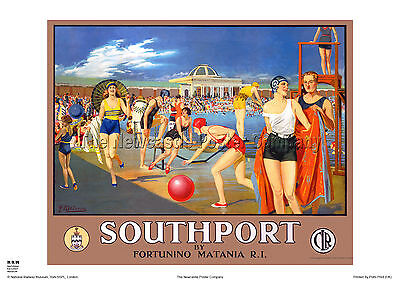 Southport Lancashire Railway Poster Retro Vintage Advertising Travel Art