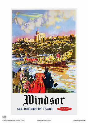 London Windsor Castle Retro Vintage Railway Travel Poster Advertising Art