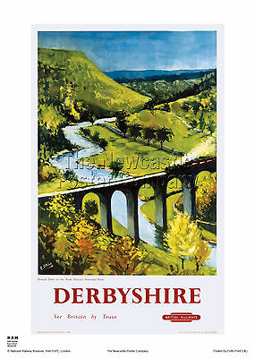 Derbyshire Monsal Vintage Railway Travel Poster Art Advertising Retro Dale