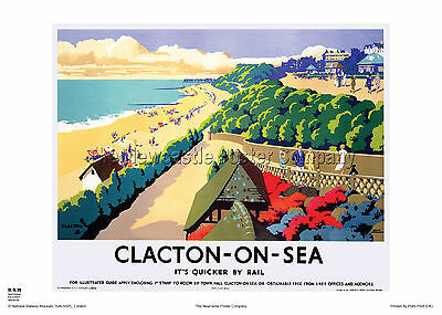 Clacton On Sea Essex Retro Art Vintage Railway Travel Poster Advertising