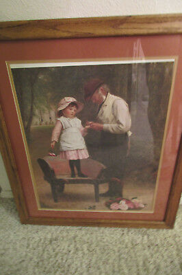 Framed and Matted Painting Print of Girl Standing in a Cart w/ a Man at Her Side
