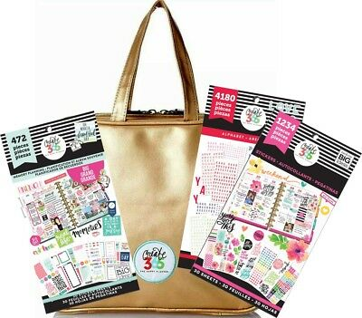 BUNDLE Create 365 Happy Planner Storage Case Bag Gold 3 Sticker Book Starter Kit