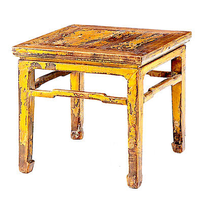 Mid 19th Century Vintage Chinese Ming Imperial Yellow Table Stool