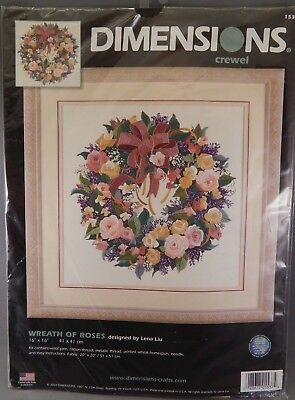BEAUTIFUL! Dimensions-WREATH OF ROSES-Crewel-2004- #1537-Craft Kit-Flowers-NEW
