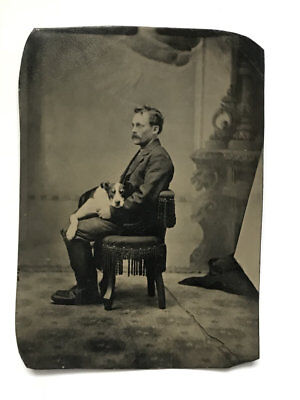 Man With Dog en Su Regazo - Studio Ferrotipos Foto Antiguo Clásico C.1870