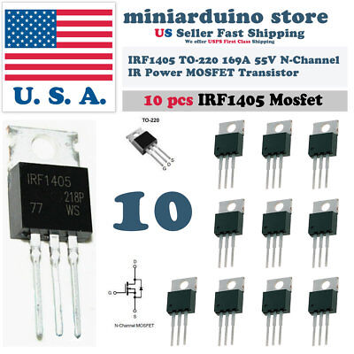 """10pcs IRF1405 IRF 1405 Power MOSFET Transistor TO-220AB """"IR"""" N CHANNEL 55V 169A"""
