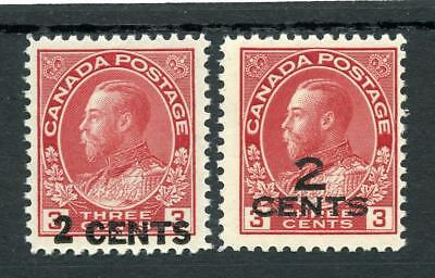 Canada 1926 2c on 3c carmine both surch SG264/5 MLH