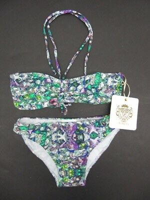 f79569f930d NWT Girls To The 9 s Multi Color Jewel Gem Print 2 Pc Bikini Swimsuit Size 8