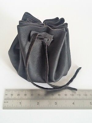 Real Leather Drawstring Pouch – Coins, Larp, Mediaeval, Dice, Stones   (#1/10)
