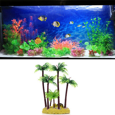 For Fish Tank Decor Artificial Water Plant Beach Coconut Tree Aquarium Landscape