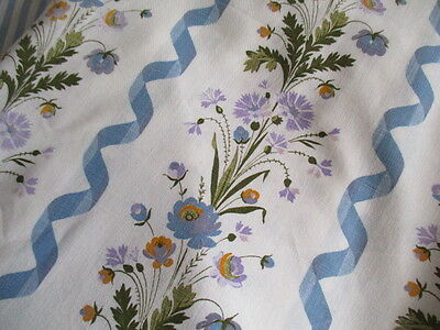 Delicious Vintage French Curtain, Fabric, Blue Ribbons Flowers.