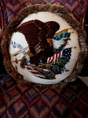 ROUND FEATHER PILLOW MADE WITH VINTAGE 1940s AMERICAN EAGLE NEEDLEPOINT