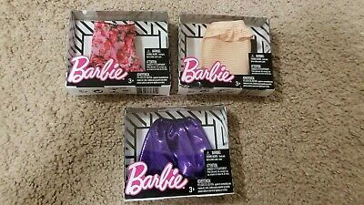Barbie Doll 3 Skirt Packs: Stripes, Floral, & Purple Outfit Fashion Piece NRFB