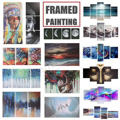 Framed Canvas Printed Paintings Wall Art Pictures Panel Home Decor 1/2/3/4/5 Pcs