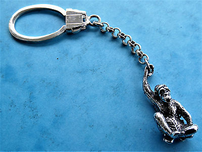 Sterling SILVER 925 keychain with MONKEY miniature, weight : 14.5 gr.