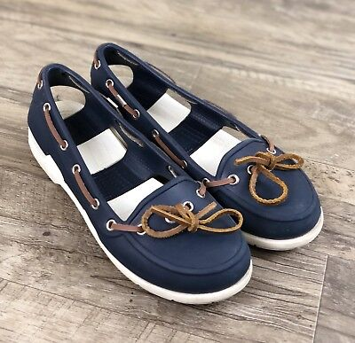 f92a3f5857d7 CROCS Croslite Womens Size 6 Navy Blue Moccasins Style Loafers Boat Shoes