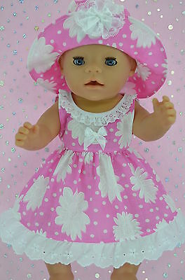 "Play n Wear Doll Clothes To Fit 17"" Baby Born  CANDY PINK/WHITE FLOWER DRESS~HAT"