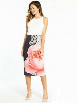 821379529c9e NWT TED BAKER RUBELLE Blenheim Palace Ruched Detail Midi Dress SIZE ...